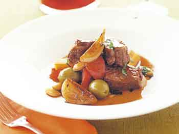 beef with almonds and olives