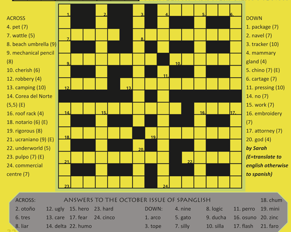 November crossword the olive press