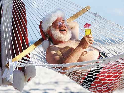 santa on the beach